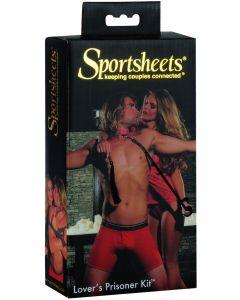 "Sportsheets Lover's Prisoner Bondage Kit 5pc 14"" Bondage Kit, Black Red"