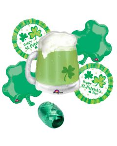 Happy St Patrick's Day Green Beer Mug 6pc Mylar Balloon Party Decorating Pack