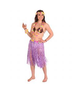 "Women Luau Aloha Hula 5pc Costume Accessory Kit, Purple, One-Size 33"" Waist"