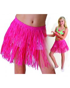 Tropical Sun Girls Luau Tropical Paper Raffia Hula Skirt, Pink, One-Size