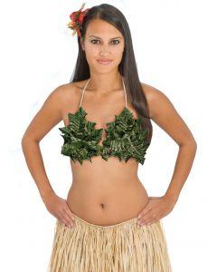 Tropical Sun Pot Leaf Fern Leaves Shell Bikini Top, Green, One-Size