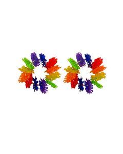 "Tropical Sun Fabric Party Flower Luau Lei Bracelet, Rainbow, One-Size 6"""