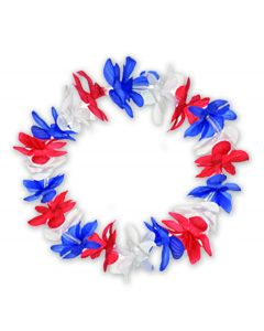 "Patriotic Americana Party Flower Lei 19"" Fabric Leis, Red White Blue, 25 Pack"