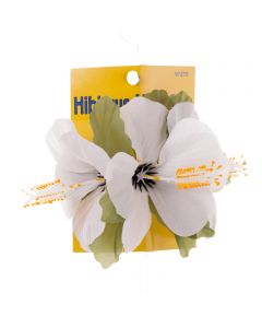 Tropical Sun Small Hibiscus Luau Flower Hair Clips, One-Size, White