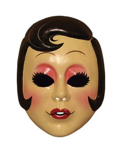 Strangers Pin-up Girl Vacuform Face Mask, Beige Black Red, One-Size