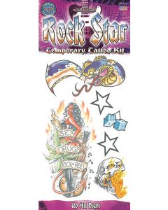 "Tinsley Rock Star Up All Night 6pc Temporary Tattoo FX Costume Kit, 11.75"""
