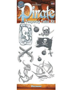 """Tinsley Transfers Pirate Buccaneer 9pc Temporary Tattoo FX Costume Kit, 11.75"""""""