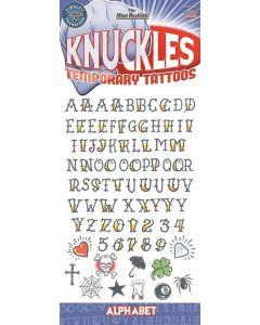 "Tinsley Transfers Knuckles Alphabet 76pc 11.75"" Temporary Tattoo FX Kit"