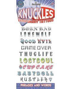 "Tinsley Transfers Knuckles Phrases 9pc 11.75"" Temporary Tattoo FX Kit"