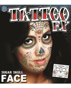 "Tinsley Transfers Sugar Skull 11.75"" Temporary Tattoo FX Face Kit"