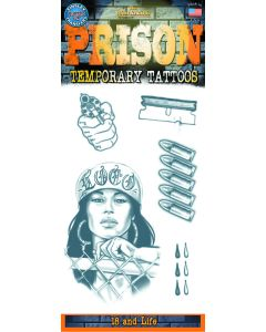 Tinsley Transfers Prison 18 And Life 14pc Temporary Tattoo FX Costume Kit