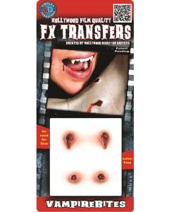 Tinsley Transfers Vampire Bites 4pc Makeup FX Transfers, Red Beige