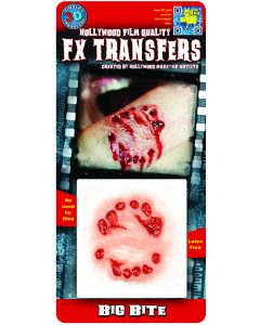 Tinsley Transfers Big Bite Hollywood Film Quality Makeup FX Transfers, Red Beige