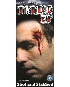 Tinsley Transfers Shot & Stabbed Trauma 14pc Temporary Tattoo FX Kit, Red Beige