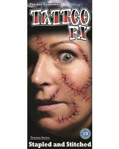Tinsley Transfers Stapled & Stitched Trauma 10pc Temporary Tattoo FX Kit