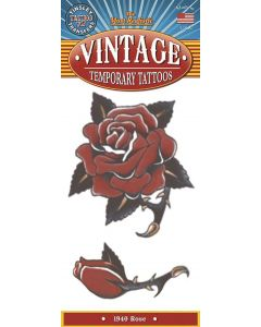 Tinsley Transfers Rose 1940 Vintage Temporary Tattoo FX, Red Black