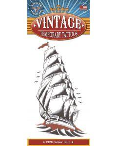 Tinsley Transfers Ship 1920 Vintage Temporary Tattoo FX, White Black Red