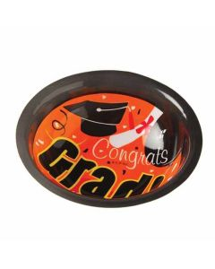 "US Toy Congrats Grad Cap & Diploma 6.75"" Serving Bowls, Orange Black, 12 Pack"