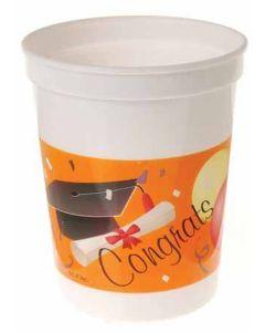 US Toy Congrats Grad Cap & Diploma 12oz Plastic Cups, Orange Black, 12 Pack