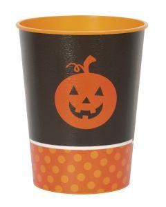 Pumpkin Halloween Party Reusable Hard 16oz Plastic Cups, Black Orange, 8 CT