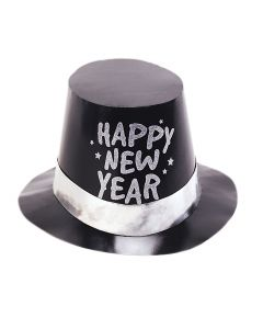 "Unique Happy New Year 2018 Foil Glitter 5.25"" Party Hat, Black Silver"