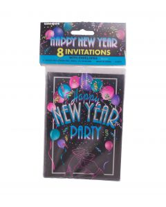 "Unique Friends New Year's Cheer 2019 4""x5.5"" Party Invitations, Black, 8 CT"