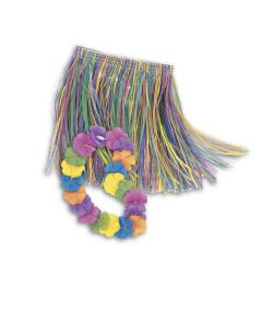 Unique Colorful Tropical Luau Hula Skirt & Lei 2pc Child Costume Set, One-Size