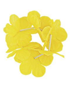 "Unique Hawaiian Flower Luau Party Hula Lei 8"" Bracelets, Yellow, 2 CT"