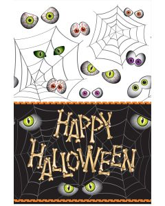 "Unique Spooky Happy Halloween Bones Standard Rectangle 84"" Tablecover"