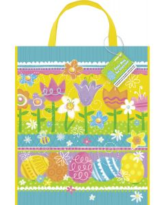 "Unique Spring Theme Easter Egg Hunt Carrying Tote Plastic 13""x11"" Favor Bag"