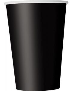 Premium Bright-colored Party Tableware 12oz Paper Cups, Midnight Black, 10 CT