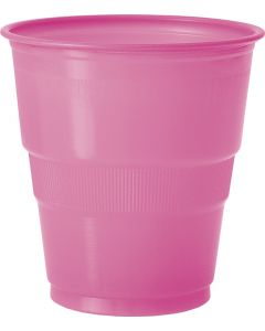 Unique Solid Color Party Tableware Standard 9oz Plastic Cups, Pink, 12 CT