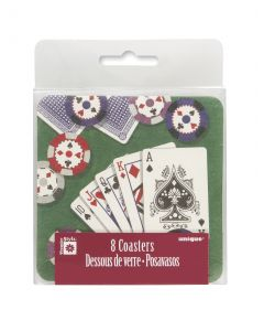 Unique Casino Poker Card and Chips 3.5 In Drink Coasters, Green, 8 CT