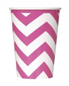 Unique Chevron Design Tableware 12oz Paper Cups, Hot Pink White, 6 CT