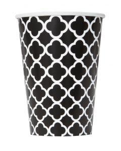 Unique Quatrefoil Design Tableware 12 oz Paper Cups, Black White, 6 CT