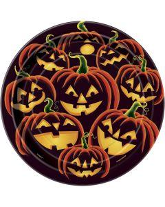 "Unique Pumpkin Grin Halloween 7"" Luncheon Plate, Black Orange, 8 CT"