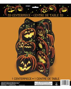 "Deluxe Pumpkin Grin Halloween 14"" 3D Centerpiece, Black Orange Yellow Green"