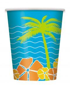 Unique Hawaiian Paradise Island Luau Party 9 oz Paper Cups, 8 CT
