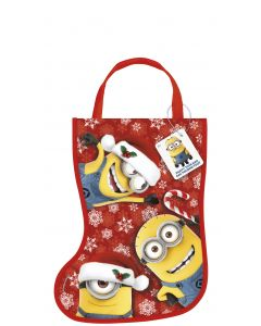 "Unique Despicable Me Minions Tote Bag 13"" Tall Christmas Stocking, Red Yellow"