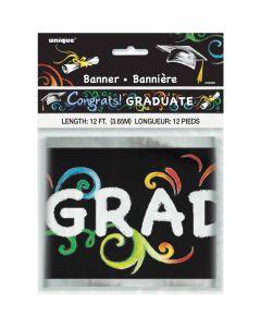 Unique Premium Foil Congrats Graduate Chalkboard Hanging 12' Foil Banner, Black