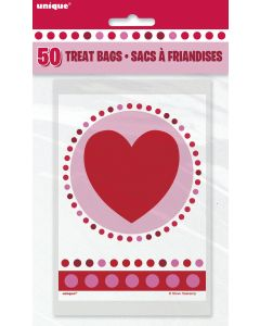 """Unique Valentine's Day Radiant Hearts 4""""x6"""" Treat Favor Bags, Pink Red, 50 CT"""
