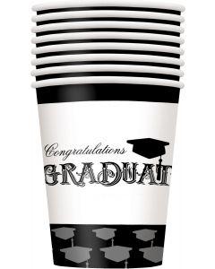 Unique Simply Grad Modern Graduation 9 Oz Paper Cups, Black White, 8 CT