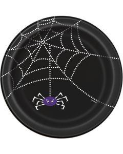 "Unique Spider Web Halloween Party 7"" Luncheon Plate, Black White, 8 CT"