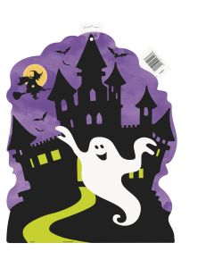 Unique Haunted House with Friendly Ghost 16.5 Inches Cutout, Purple