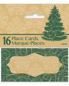 "Unique Christmas Tree Holiday 2"" Place Cards, Green Yellow, 16 CT"