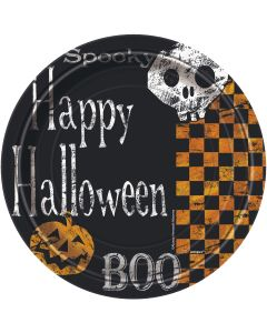 "Unique Checkered Halloween Party 7"" Luncheon Plate, Black Orange, 8 CT"