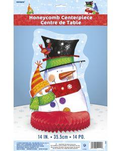 """Unique Festive Snowman Honeycomb 14"""" Table Centerpiece Party Supplies, White Red"""
