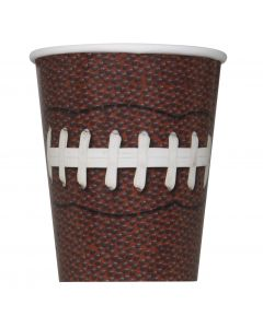 Unique Detailed Football Party Sports 9 oz Paper Cups, Brown White, 8 CT