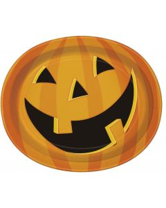 Unique Smiling Jack O Lantern Pumpkin 12x10 in Paper Plates, Orange Black, 8 CT