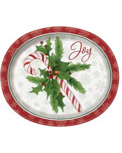 "Candy Cane Christmas Joy Holly Berries 12"" Oval Plates, White Green, 16 CT"